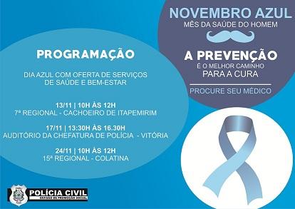 Novembro Azul: Polícia Civil desenvolve ações para prevenir o câncer de próstata