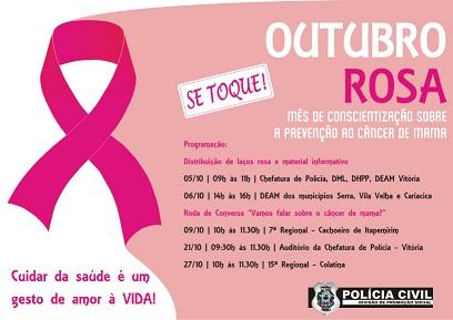 """Polícia Civil promove ações para reforçar campanha """"Outubro Rosa"""" - CONFIRA A PROGRAMAÇÃO"""