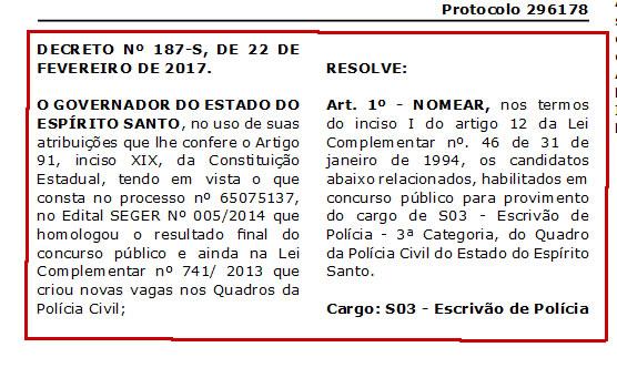 CONFIRA: lista dos últimos nomeados para o cargo de Escrivão de Polícia Civil